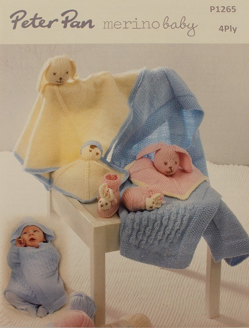 P1265 Swaddle Blanket, Comforter & Bunny Slippers in Peter Pan Baby 4 Ply