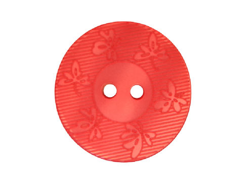 23mm Raspberry Pink Leaf Button