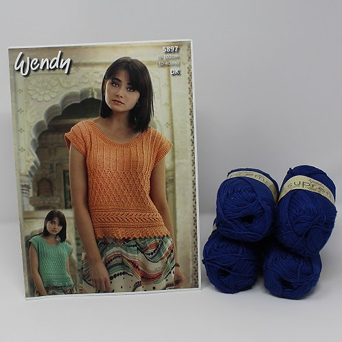 """Lace Edge Top Knitting Kit in Wendy Supreme DK Size 34"""""""