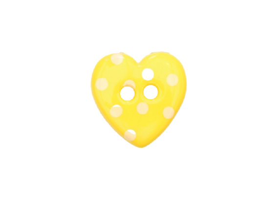 15mm Yellow & White Spotty Heart Button