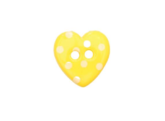 15mm Yellow & White Spotty Heart Button