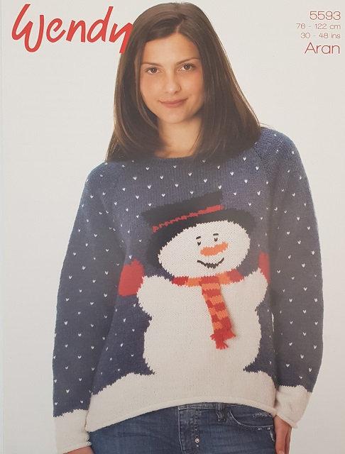 5593 Snowman Sweater inWendy Aran