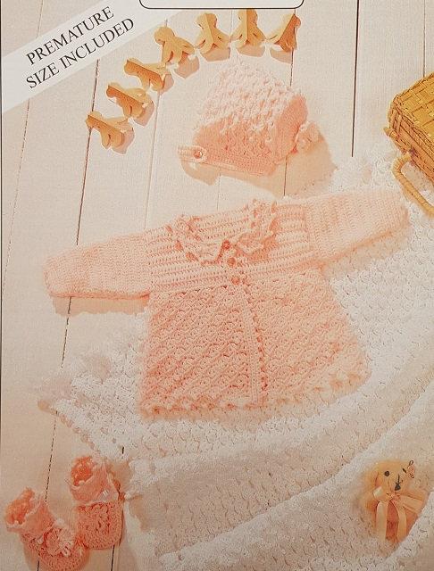 7163 Teddy 4 Ply Crochet Matinee Set & Shawl