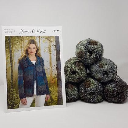 "Women's Jacket Knitting Kit in James C Brett Landscape DK Size 28/30-40/42"""