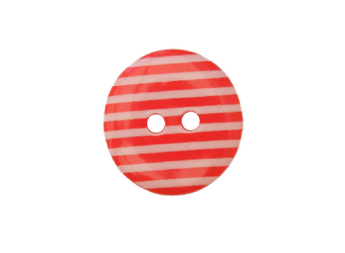 18mm Red & White Stripe Button