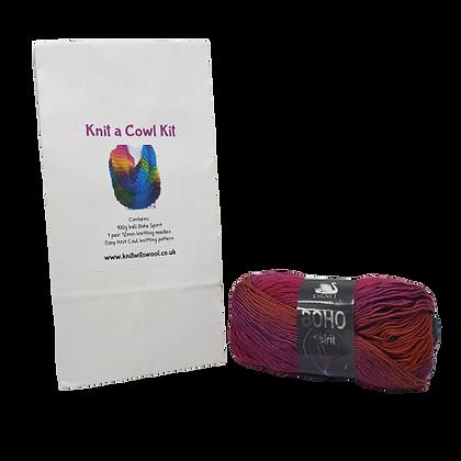 Cowl Knitting Kit in Boho Spirit Flame