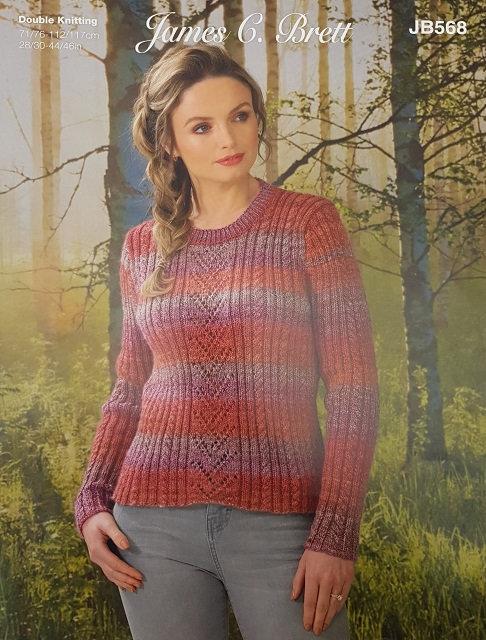 JB568 Sweater in James C Brett Landscape DK