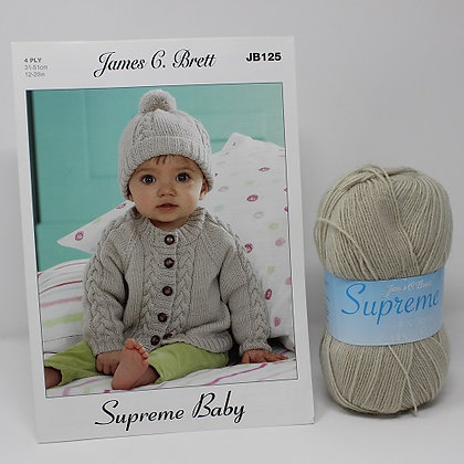 Baby Cable Cardigan Knitting Kit in James C Brett Supreme 4 Ply Size 31-