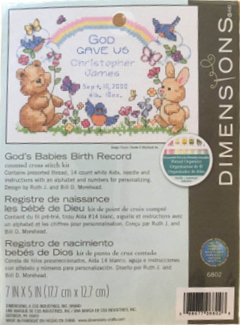 Dimensions God's Babies Birth Record Counted Cross Stitch Kit 6802