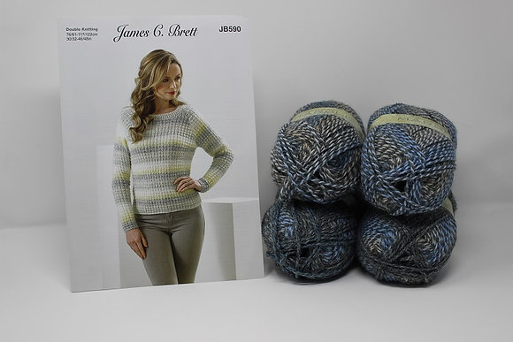 "Sweater Knitting Kit in James C Brett Marble DK in MT18 Size 30/32-34/36"""