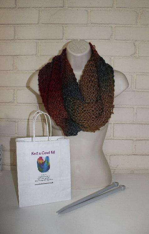 Cowl Knitting Kit in Boho Spirit Folk