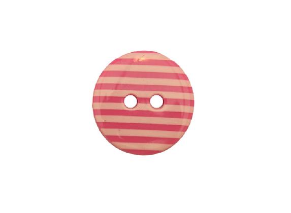 15mm Pink & White Stripe Button