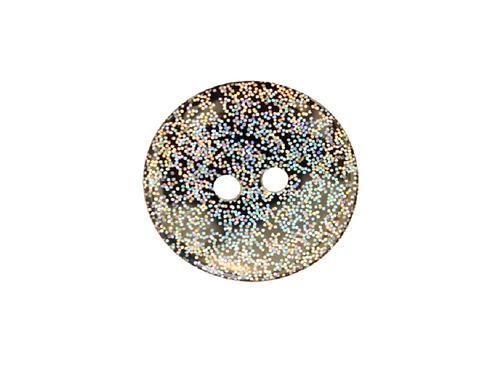 18mm Black Glitter Button