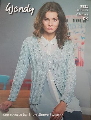 5881 Wendy DK Short Sleeve Sweater & Cardigan
