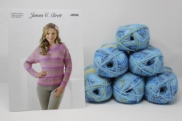 """Sweater Knitting Kit in James C Brett Marble DK Size 38/40-42/44"""""""