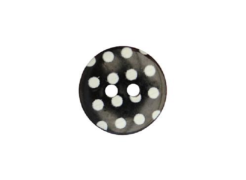 15mm Black & White Polka Dot Button