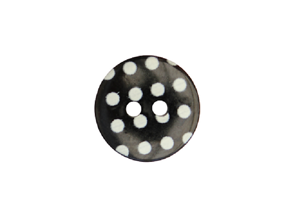 15mm Black & White Polka Dot Button
