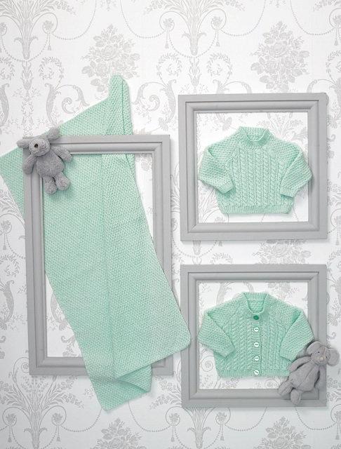JB559 Sweater, Cardigan & Blanket in James C Brett Innoncence DK