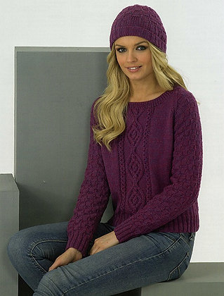 JB179 Sweater & Hat in James C Brett DK