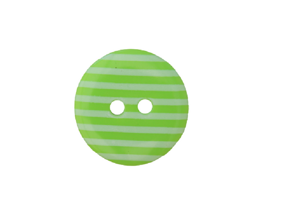 18mm Lime Green & White Stripe Button
