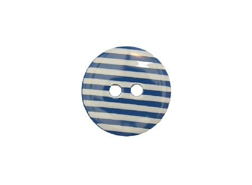 15mm Dark Blue & White Stripe Button