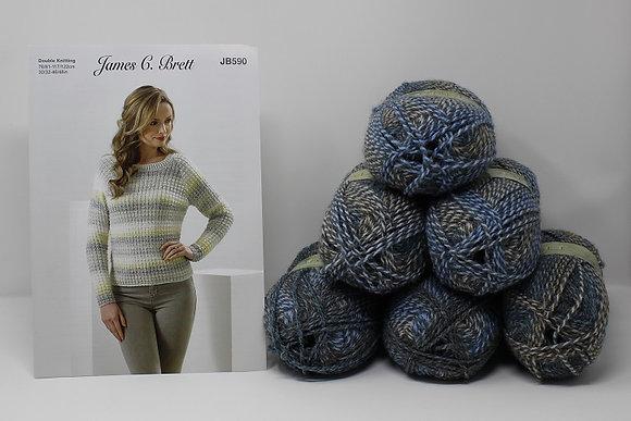 """Sweater Knitting Kit in James C Brett Marble DK in MT18 Sizes 42-48"""""""