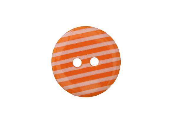 18mm Orange & White Stripe Button