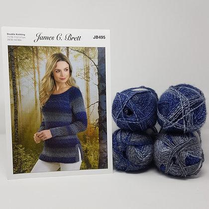 """Sweater Knitting Kit in James C Brett Landscape DK Sizes 28/30-32/34"""""""