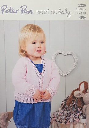 P1226 V Neck Cardigan & Cardigan with Collar in Peter Pan 4 Ply