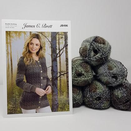 "Cardigan Knitting Kit in James C Brett Landscape DK LS04 Size 28-46"""