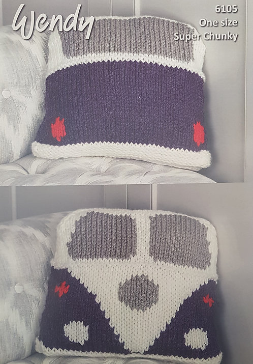 6105 Camper Van Cushion in Wendy with Wool Super Chunky