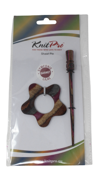 KnitPro Symfonie Wood Shawl Pin Lilac Garnet