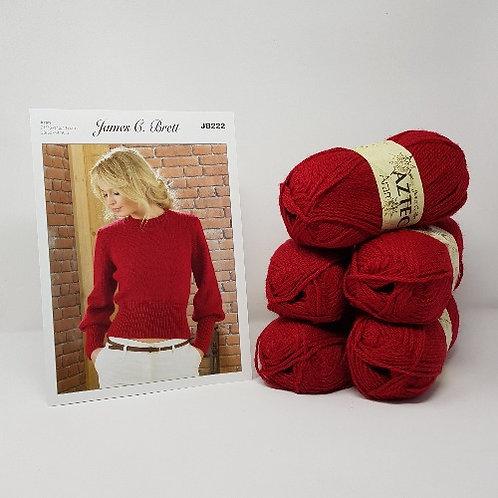 "James C Brett Aztec Aran Sweater Knitting Kit - Sizes 32-34"""""