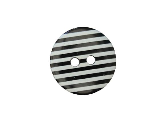 18mm Black & White Stripe Button