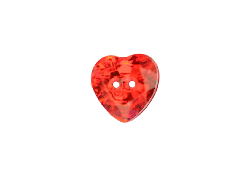 12mm Red Heart Acrylic Crystal Button