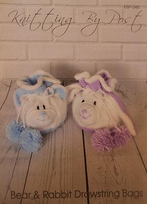 Bear & Rabbit Drawstring Bags Knitting Pattern KBP-048