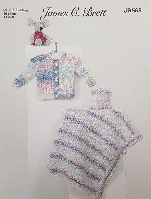 JB565 Cardigan, Hat & Blanket James C Brett DK knitting pattern