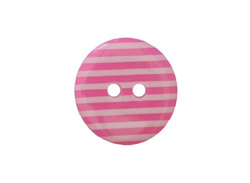 18mm Pink & White Stripe Button