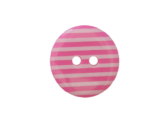 18mm Pink & White Stripe Button