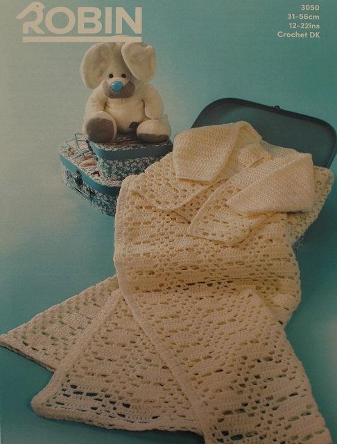 3050 Crochet Cardigan and Shawl in Robin Bonny Babe Sparkle DK