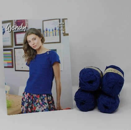 """Boat Neck Sweater Knitting Kit in Wendy Supreme DK Size 34"""""""