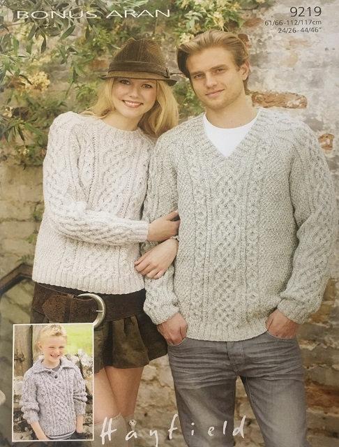 9219 Sweaters in Hayfield Bonus Aran
