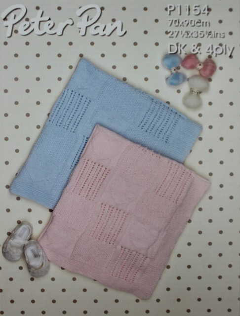 P1154 Baby Snuggle Blanket in Peter Pan DK & 4 Ply