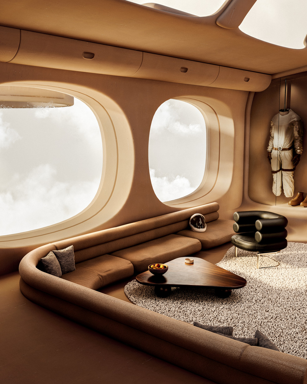Luxurious spaceship interior to travel in a cosy way.