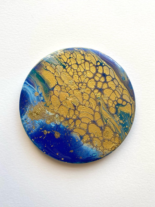 Ultramarine and Gold Individual Coaster
