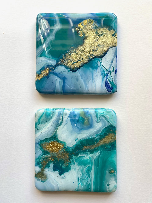 Teal and Gold Square Coaster Set