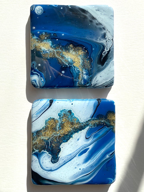 Blue and Gold Square Coaster Set
