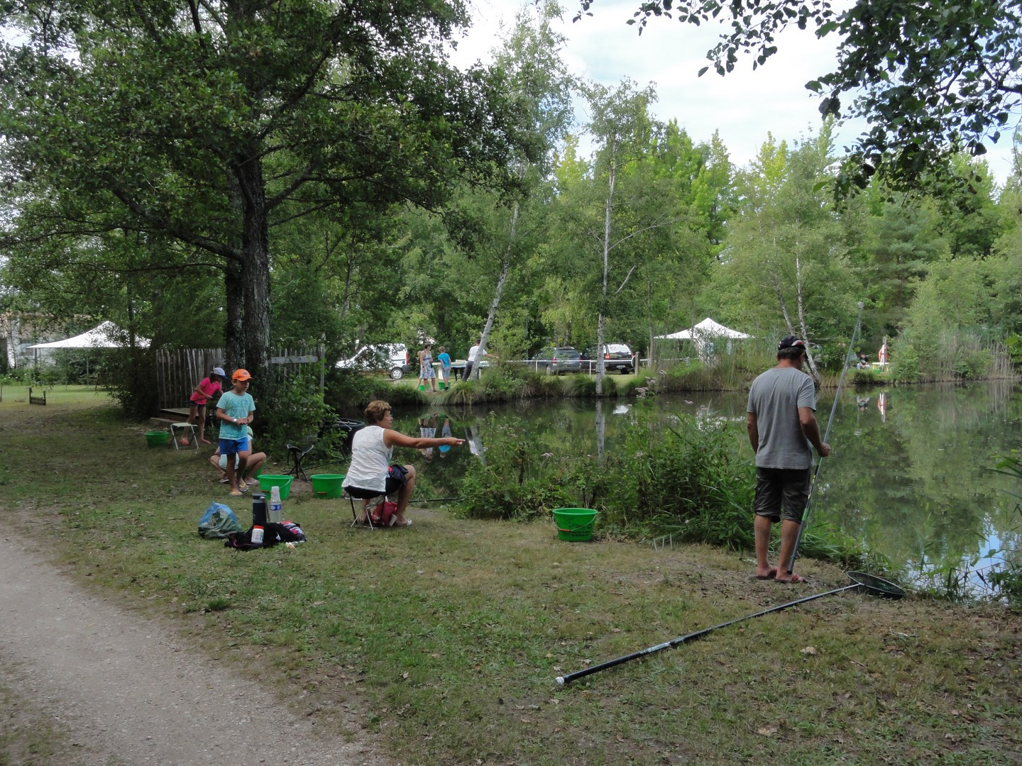 Fishing competition on the lake of the campsite