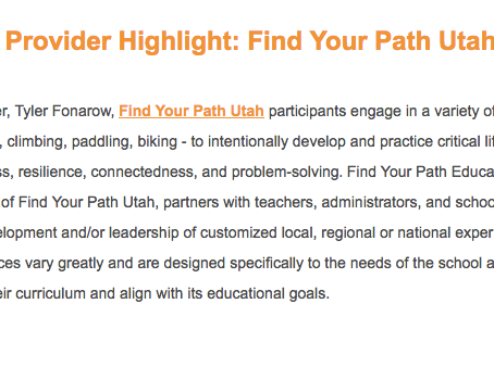 Independent School Experiential Education Network Educational Service Provider Highlight: Find Your
