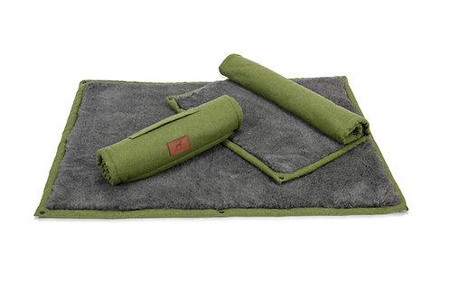 Apple Green Roll Up Dog Mat (Grey Wool Topper)